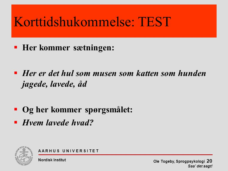 Korttidshukommelse: TEST