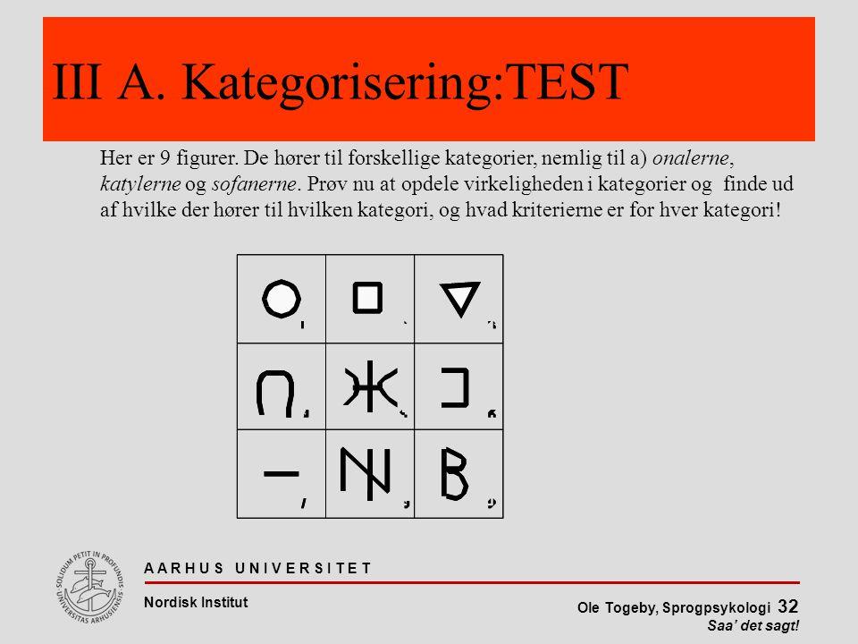 III A. Kategorisering:TEST