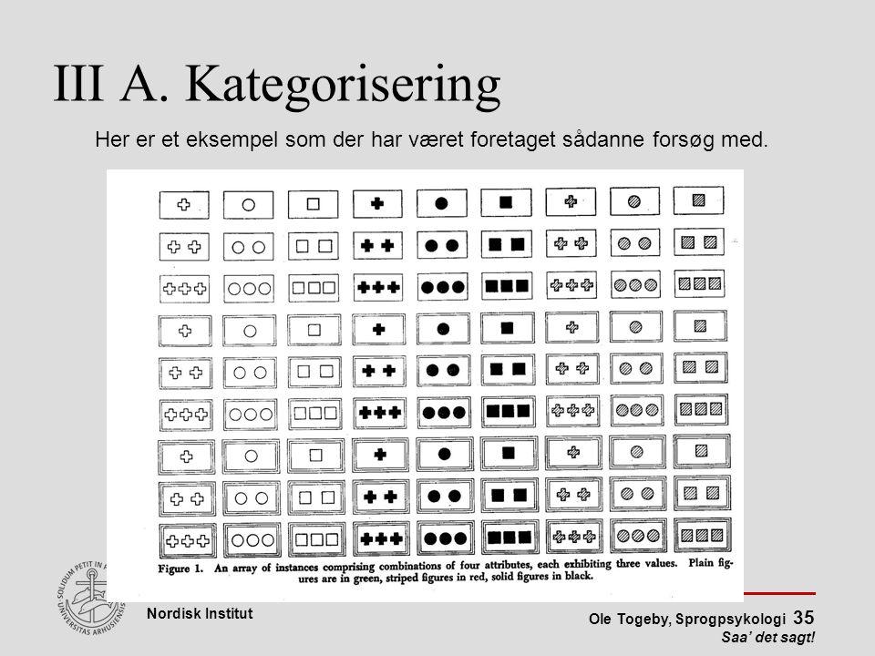 III A. Kategorisering Her er et eksempel som der har været foretaget sådanne forsøg med.