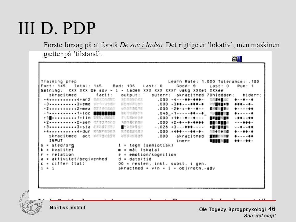 III D. PDP Første forsøg på at forstå De sov i laden.