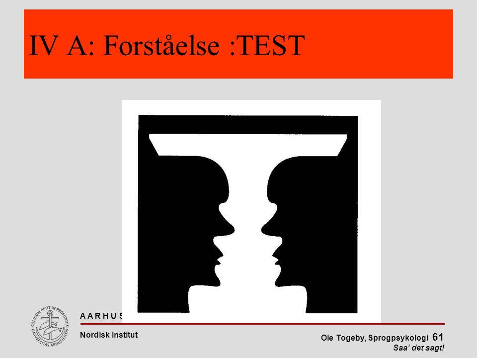 IV A: Forståelse :TEST
