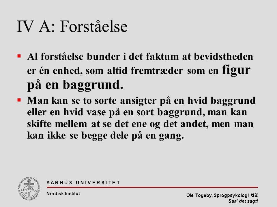 IV A: Forståelse Al forståelse bunder i det faktum at bevidstheden er én enhed, som altid fremtræder som en figur på en baggrund.