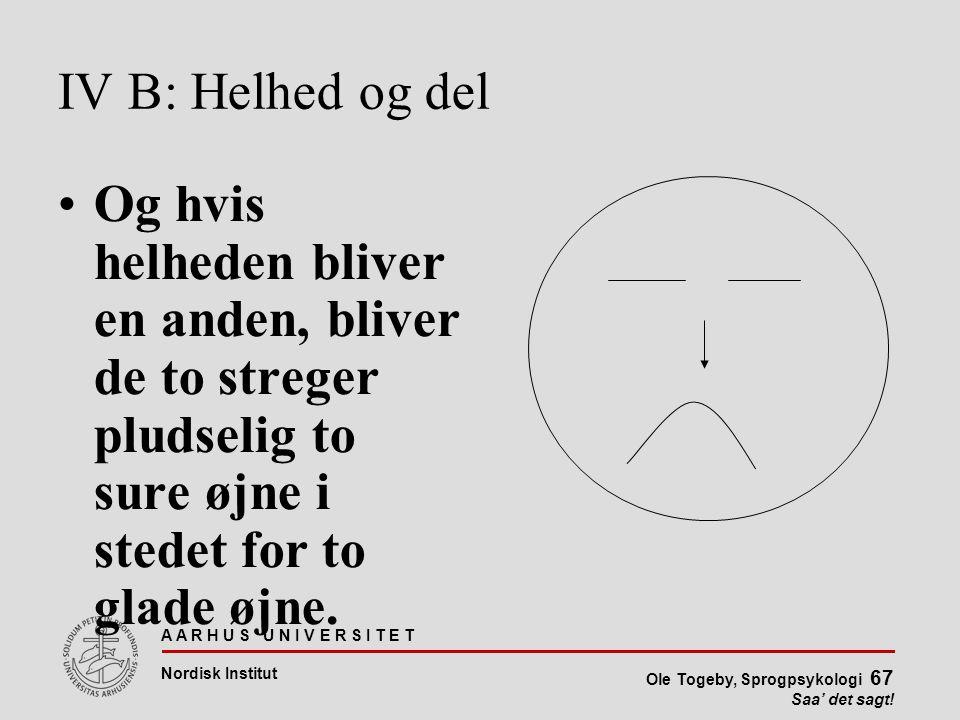 IV B: Helhed og del Og hvis helheden bliver en anden, bliver de to streger pludselig to sure øjne i stedet for to glade øjne.