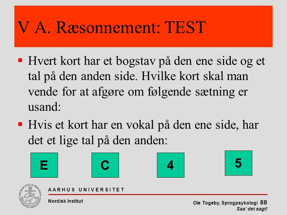 V A. Ræsonnement: TEST