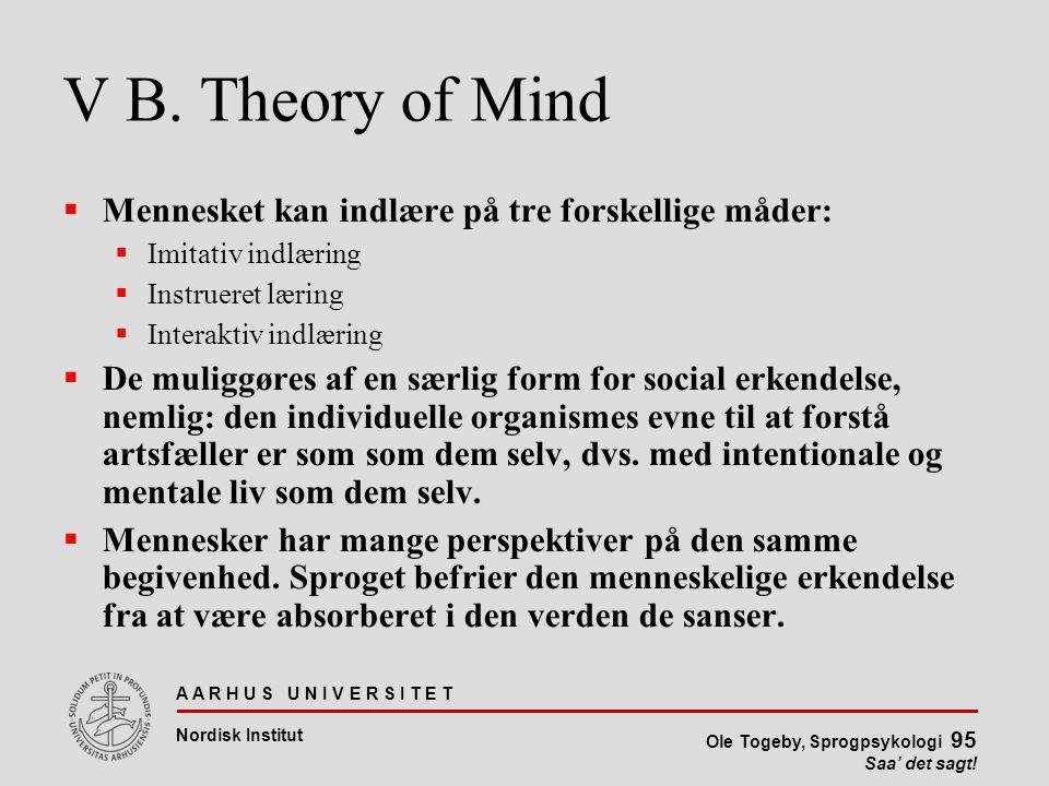V B. Theory of Mind Mennesket kan indlære på tre forskellige måder: