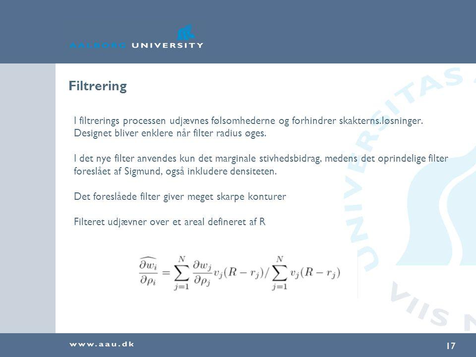 Filtrering I filtrerings processen udjævnes følsomhederne og forhindrer skakterns.løsninger. Designet bliver enklere når filter radius øges.