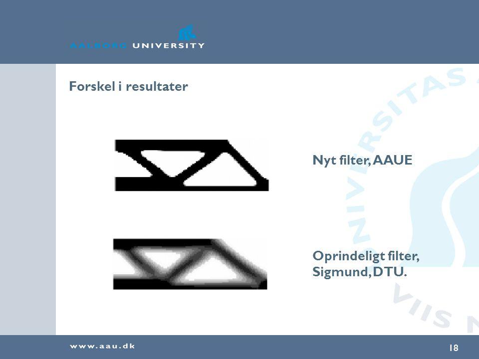 Forskel i resultater Nyt filter, AAUE Oprindeligt filter, Sigmund, DTU.