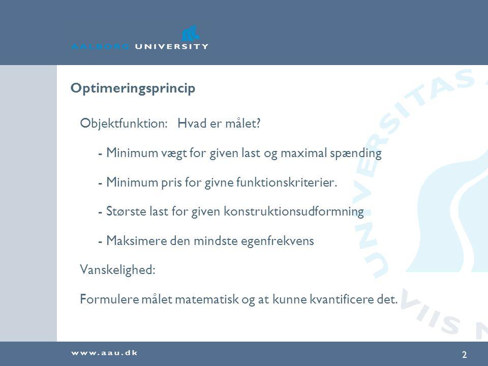 Optimeringsprincip Objektfunktion: Hvad er målet - Minimum vægt for given last og maximal spænding.