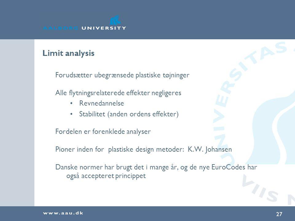 Limit analysis Forudsætter ubegrænsede plastiske tøjninger