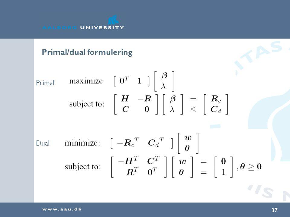Primal/dual formulering