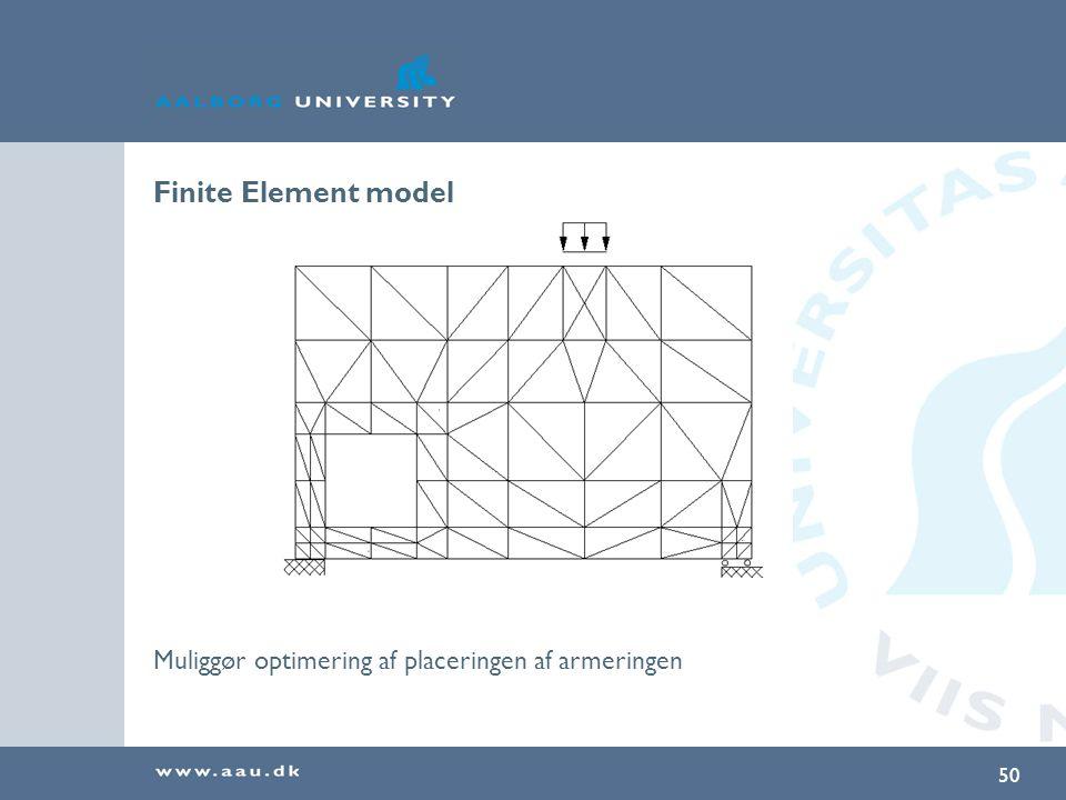Finite Element model Muliggør optimering af placeringen af armeringen