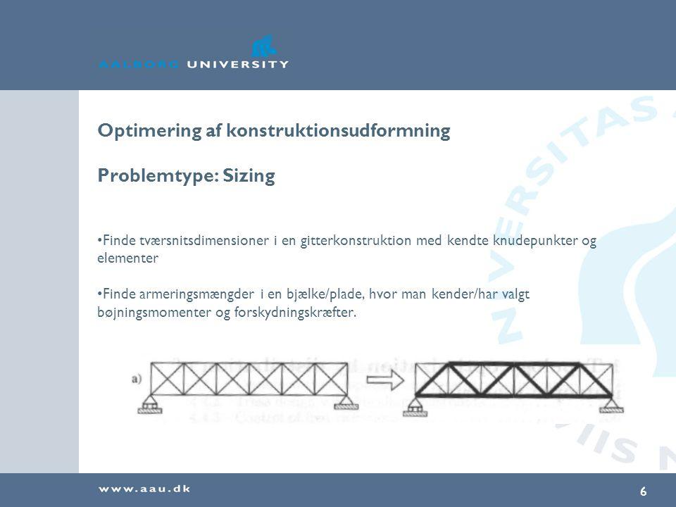 Optimering af konstruktionsudformning Problemtype: Sizing