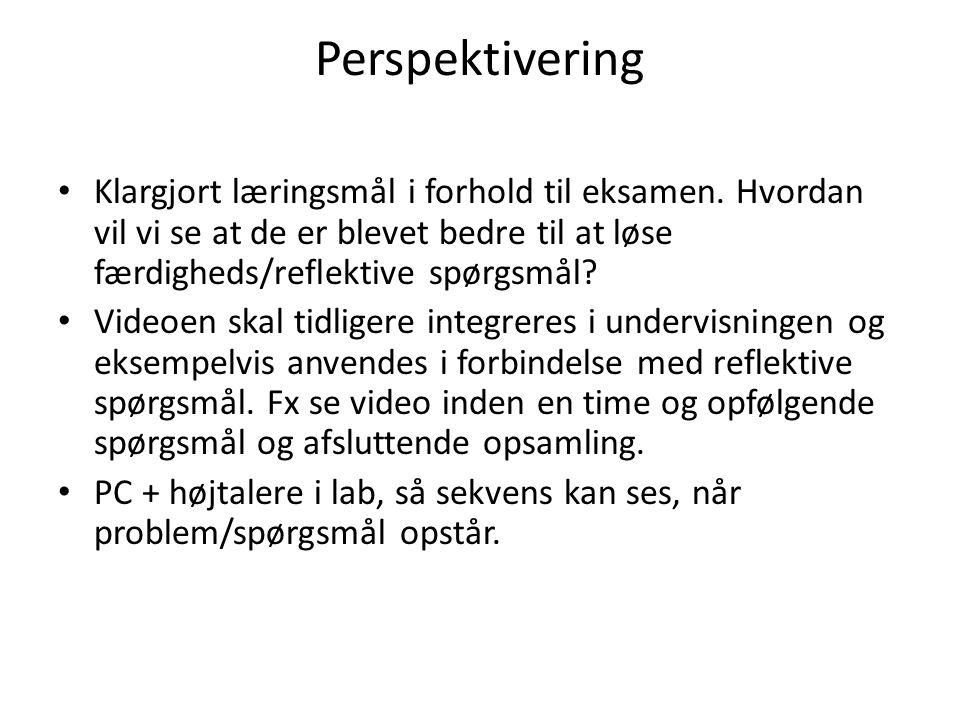Perspektivering Klargjort læringsmål i forhold til eksamen. Hvordan vil vi se at de er blevet bedre til at løse færdigheds/reflektive spørgsmål