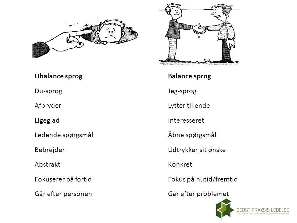 Ubalance sprog Du-sprog. Afbryder. Ligeglad. Ledende spørgsmål. Bebrejder. Abstrakt. Fokuserer på fortid.