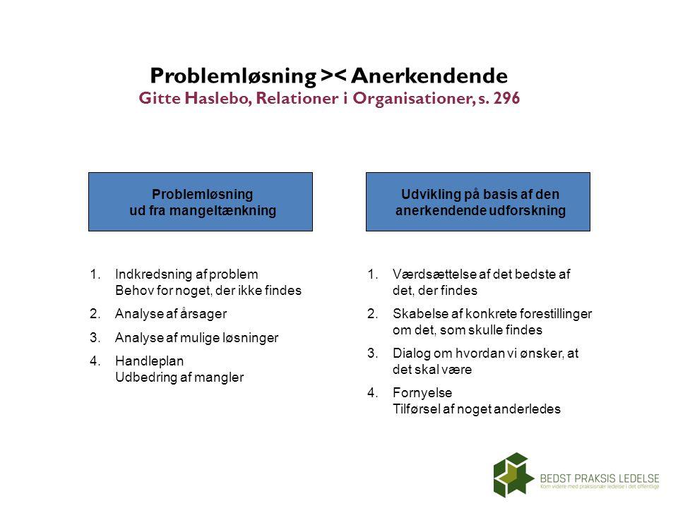 Problemløsning >< Anerkendende Gitte Haslebo, Relationer i Organisationer, s. 296