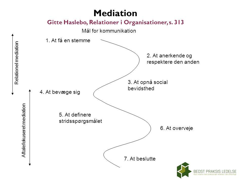 Mediation Gitte Haslebo, Relationer i Organisationer, s. 313
