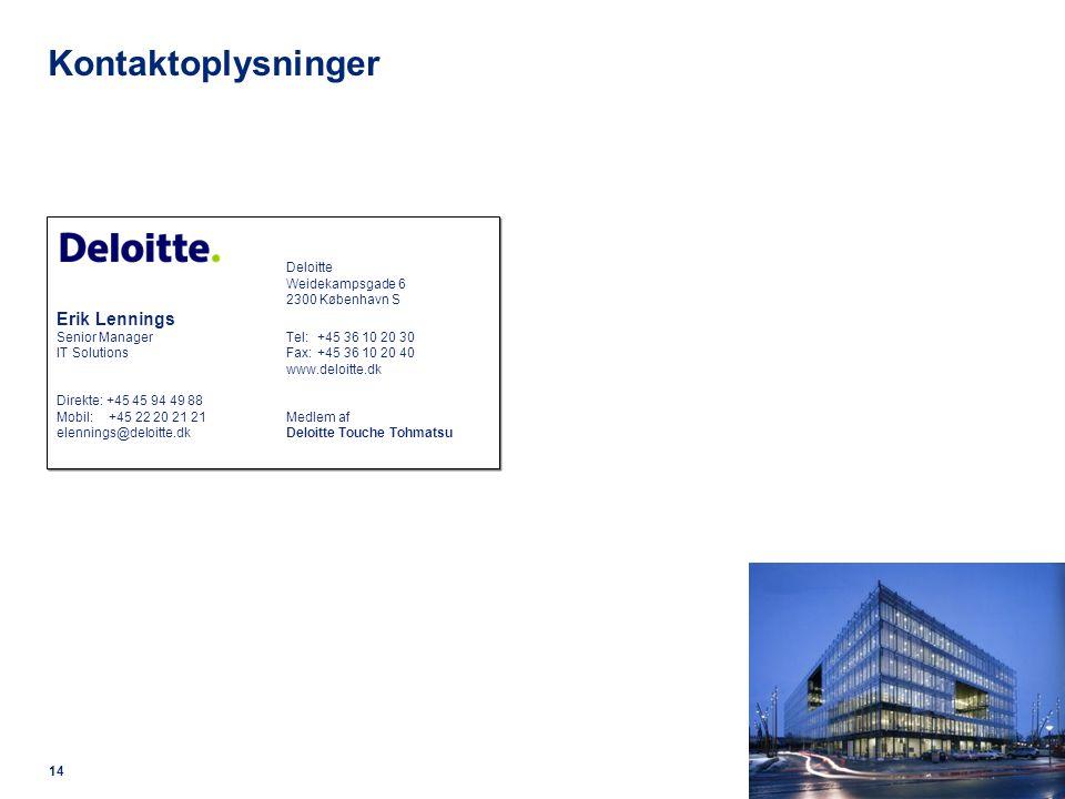 Kontaktoplysninger Erik Lennings Deloitte Weidekampsgade 6