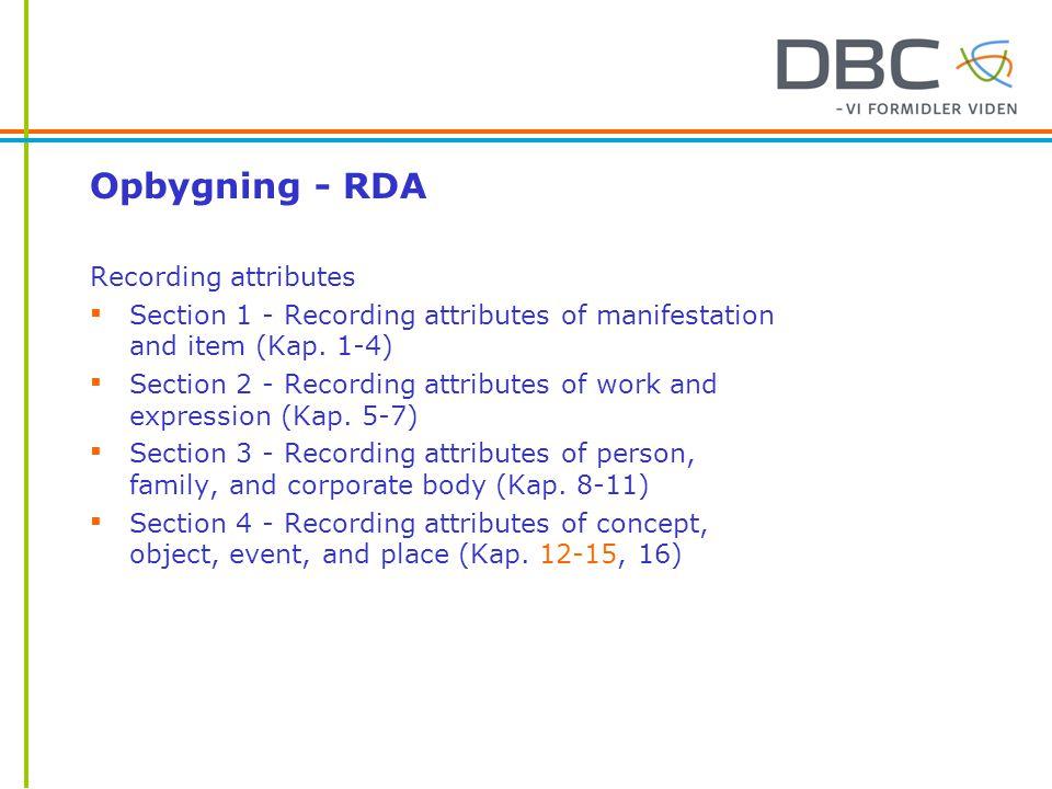 Opbygning - RDA Recording attributes