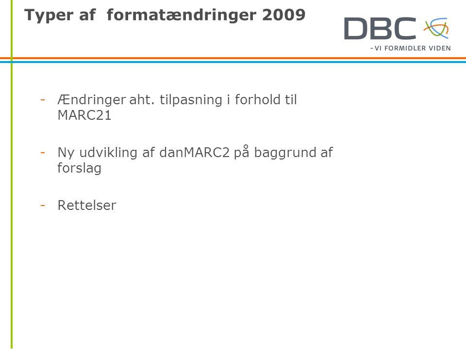 Typer af formatændringer 2009