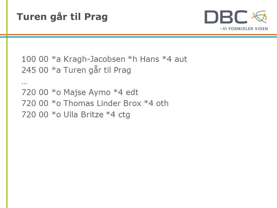 Turen går til Prag 100 00 *a Kragh-Jacobsen *h Hans *4 aut