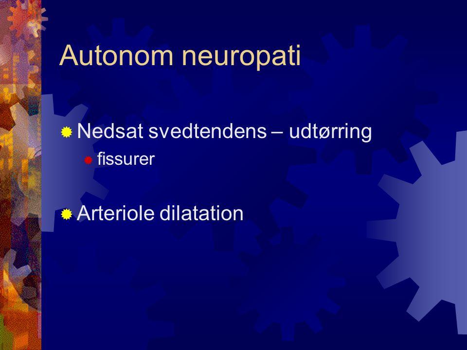 Autonom neuropati Nedsat svedtendens – udtørring Arteriole dilatation