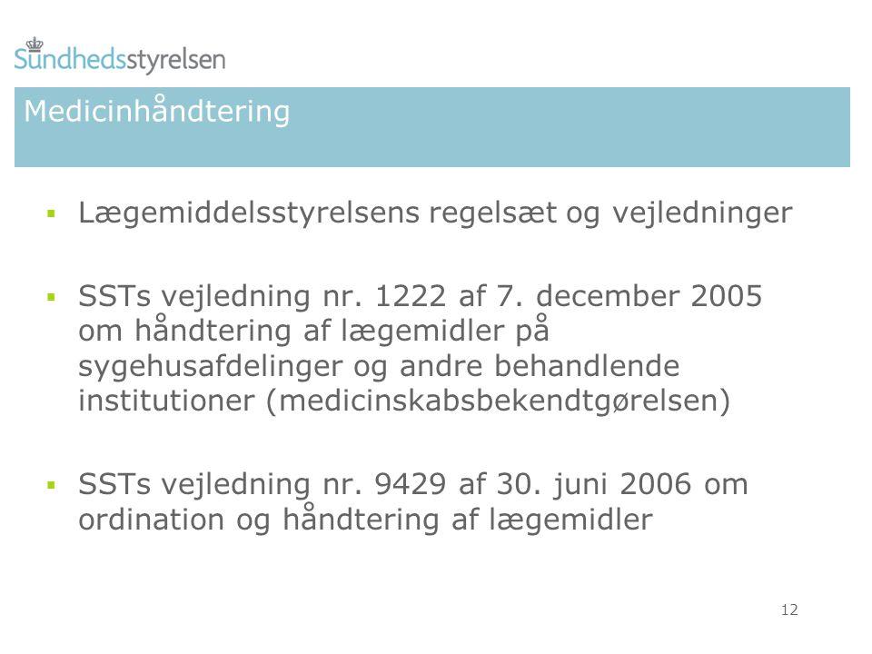 Medicinhåndtering Lægemiddelsstyrelsens regelsæt og vejledninger.