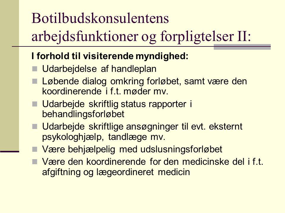 Botilbudskonsulentens arbejdsfunktioner og forpligtelser II: