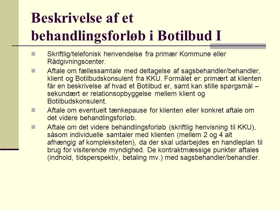 Beskrivelse af et behandlingsforløb i Botilbud I