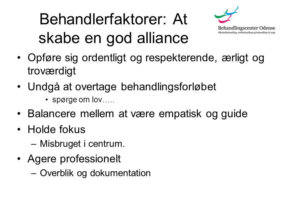 Behandlerfaktorer: At skabe en god alliance