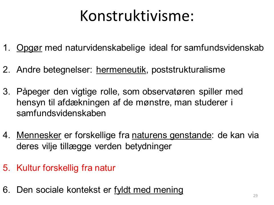 Konstruktivisme: Opgør med naturvidenskabelige ideal for samfundsvidenskab. Andre betegnelser: hermeneutik, poststrukturalisme.