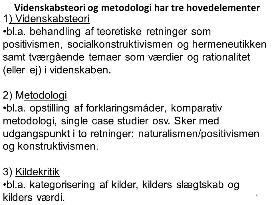 Videnskabsteori og metodologi har tre hovedelementer