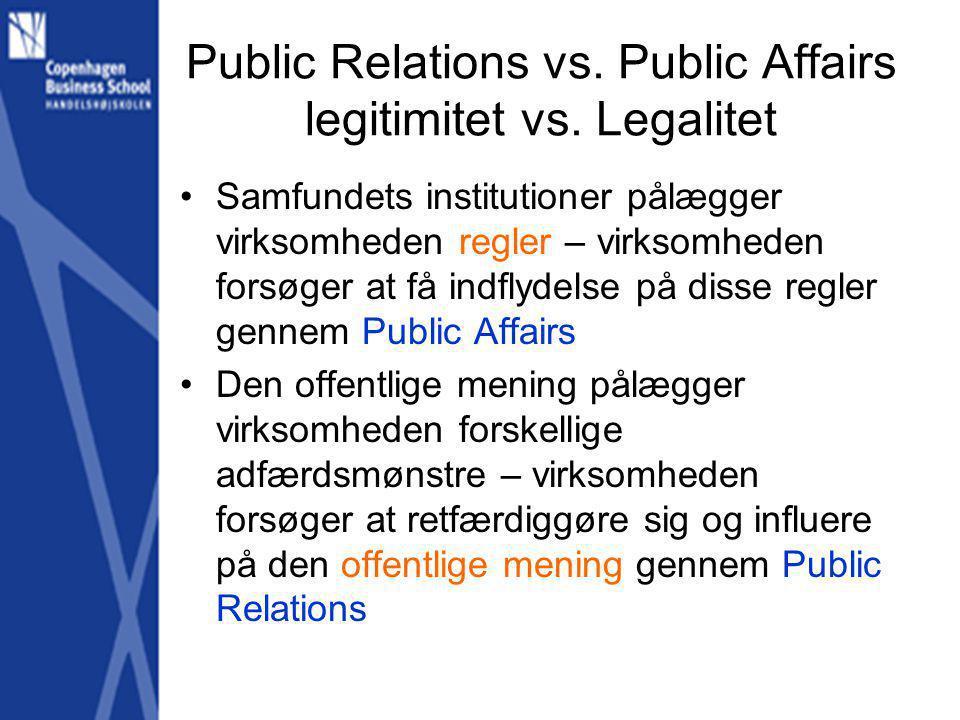 Public Relations vs. Public Affairs legitimitet vs. Legalitet