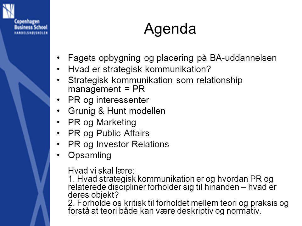 Agenda Fagets opbygning og placering på BA-uddannelsen