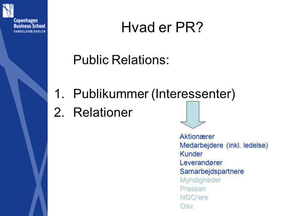 Hvad er PR Public Relations: Publikummer (Interessenter) Relationer