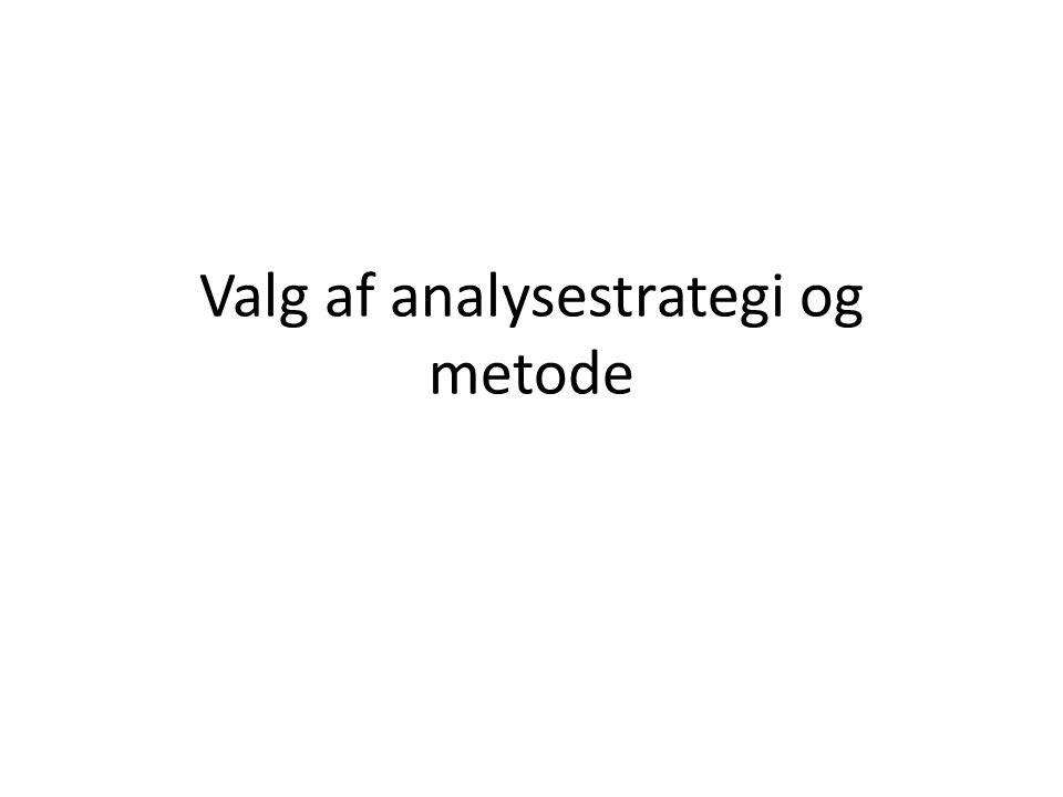Valg af analysestrategi og metode