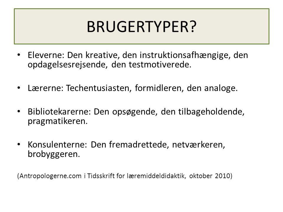 BRUGERTYPER Eleverne: Den kreative, den instruktionsafhængige, den opdagelsesrejsende, den testmotiverede.