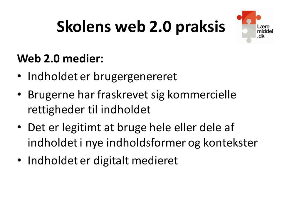 Skolens web 2.0 praksis Web 2.0 medier: Indholdet er brugergenereret