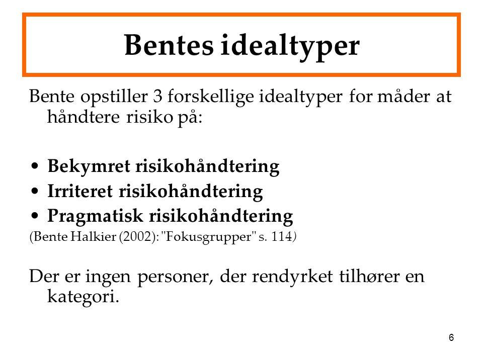 Bentes idealtyper Bente opstiller 3 forskellige idealtyper for måder at håndtere risiko på: Bekymret risikohåndtering.