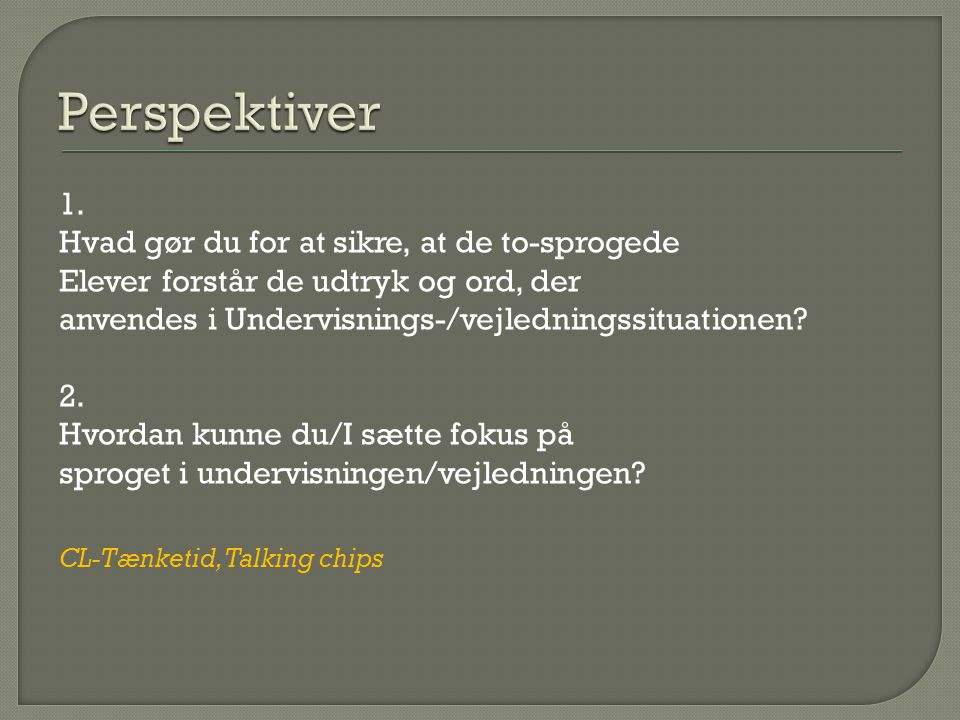 Perspektiver 1. Hvad gør du for at sikre, at de to-sprogede