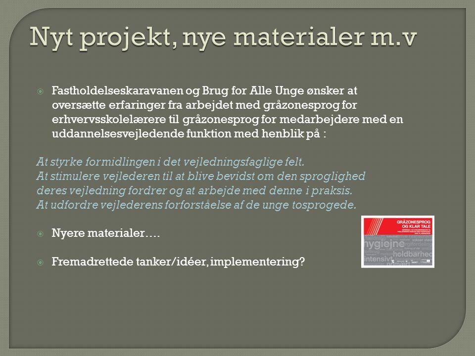 Nyt projekt, nye materialer m.v