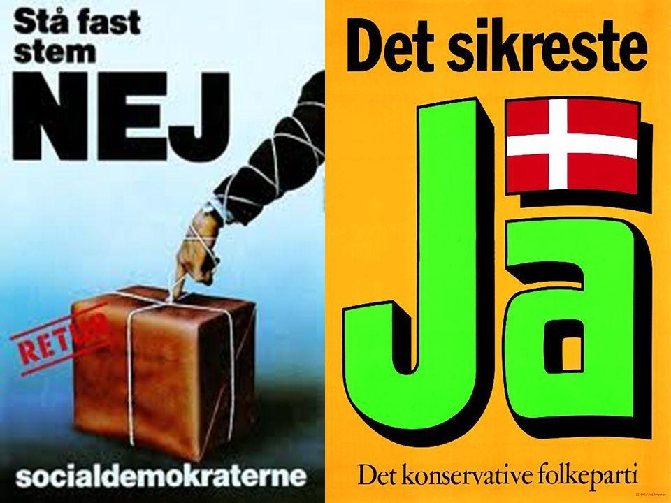 I Danmark var den danske befolkning meget splittede mellem spørgsmålet om EU. Under valgkampen før folkeafstemningen i 1992, opstod der et nyt parti, Junibevægelsen ( det eksisterer stadig i dag) , som kæmpede imod EU sammen med Folkebevægelsen imod EF , Socialistisk Folkeparti og fremskridtspartiet ( i dag Dansk folkeparti). Partierne som var for var resten af partierne i folketinget.