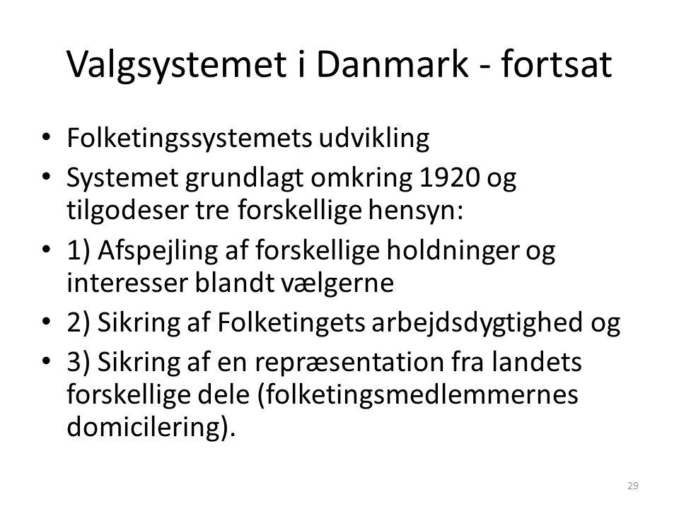 Valgsystemet i Danmark - fortsat