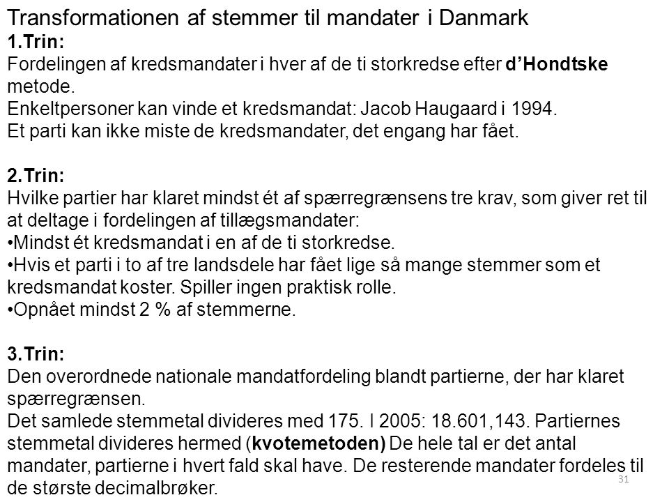 Transformationen af stemmer til mandater i Danmark