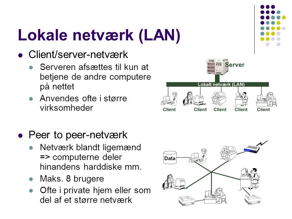 Lokale netværk (LAN) Client/server-netværk Peer to peer-netværk