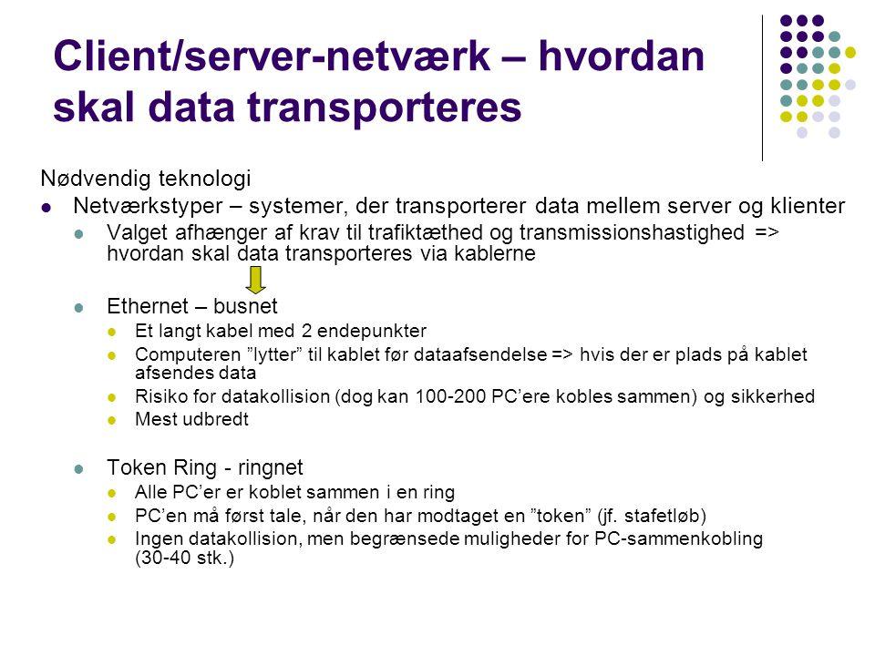 Client/server-netværk – hvordan skal data transporteres