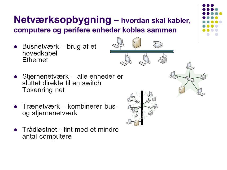Netværksopbygning – hvordan skal kabler, computere og perifere enheder kobles sammen