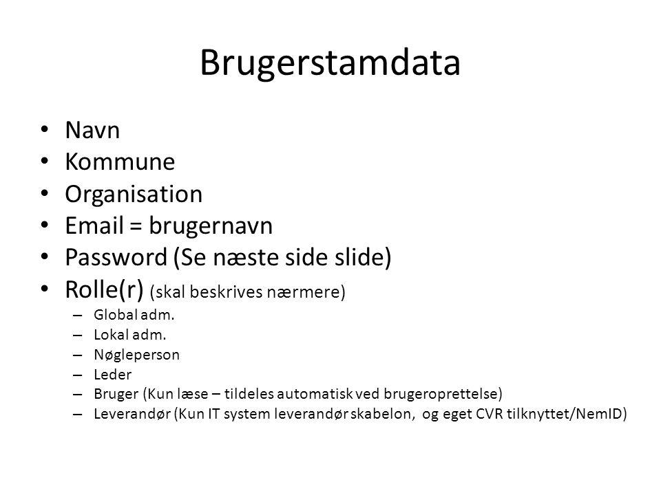 Brugerstamdata Navn Kommune Organisation Email = brugernavn
