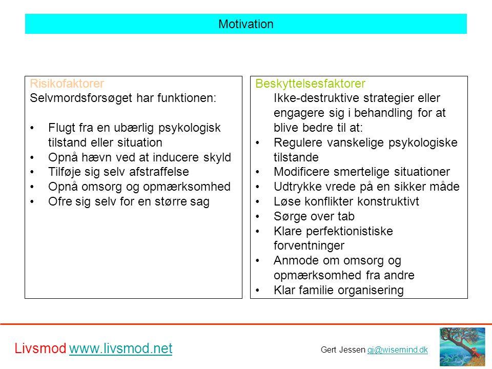 Motivation Risikofaktorer. Selvmordsforsøget har funktionen: Flugt fra en ubærlig psykologisk tilstand eller situation.