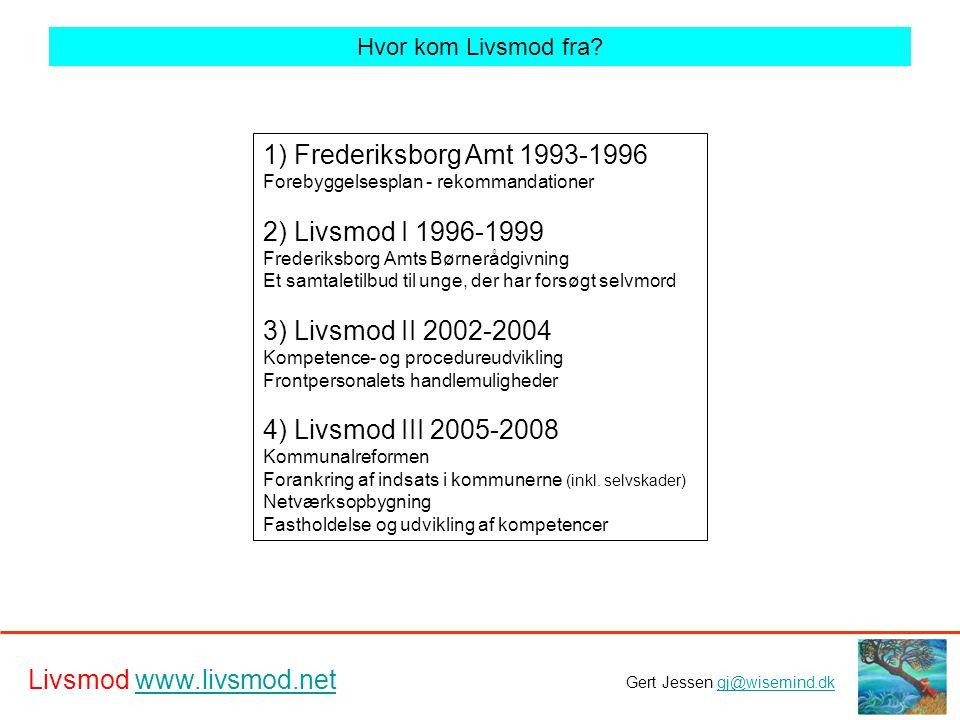 1) Frederiksborg Amt 1993-1996 2) Livsmod I 1996-1999
