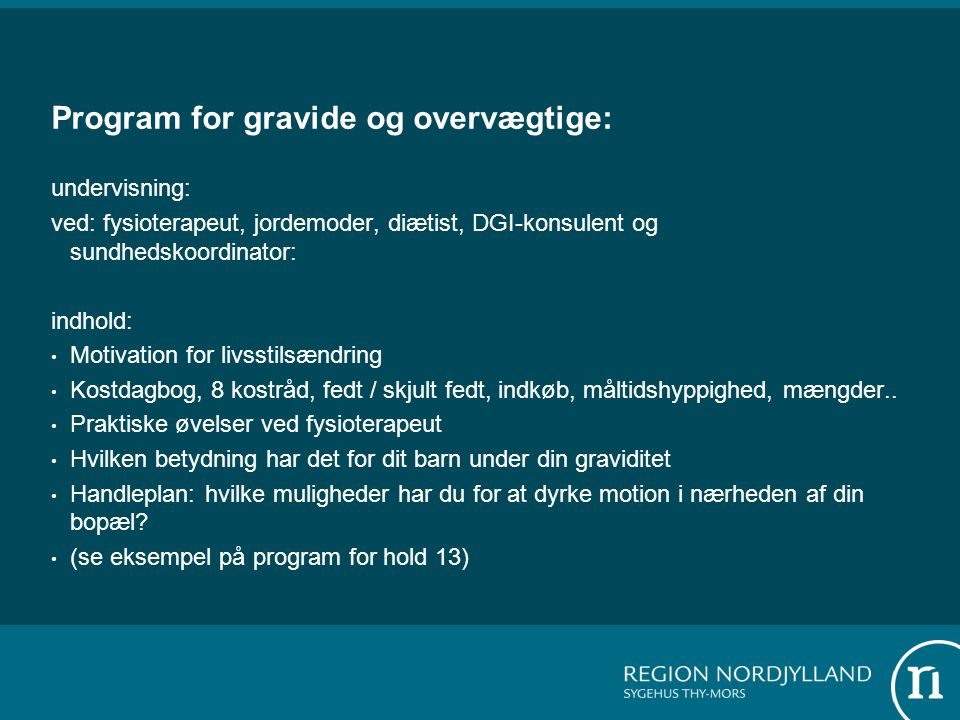 Program for gravide og overvægtige: